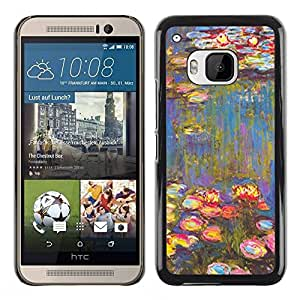 Paccase / SLIM PC / Aliminium Casa Carcasa Funda Case Cover - Painting Art Water Flowers - HTC One M9