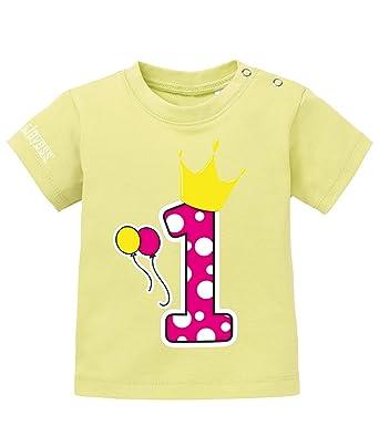 4e76b88e206735 Jayess Baby Shirt Mädchen zum 1 Geburtstag - Pünktchen Eins Pink Krone - in  Gelb Gr