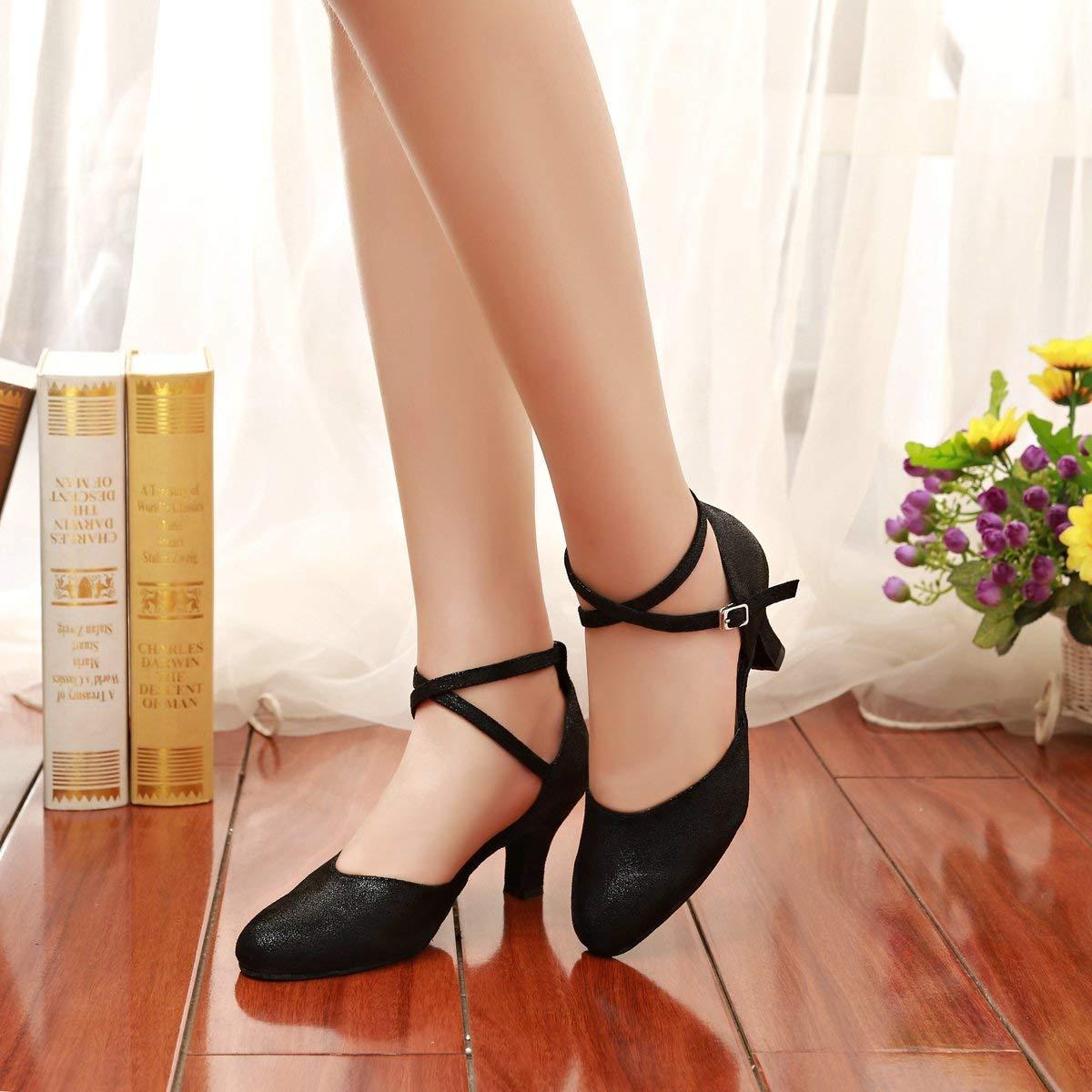 Fuxitoggo Mädchen Damen Knöchelriemen Schwarz Glitter Latin Dance Dance Dance Schuhe Hochzeit Pumps UK 6.5 (Farbe   -, Größe   -) 8a88ad