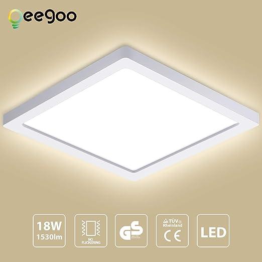Oeegoo LED Lámpara de techo, 18W 1530LM Plafón de Techo Cuadrado, Ultrafino 0.13cm, para Cocina, Dormitorio, Sala de estar, Comedor Blanco Natural ...