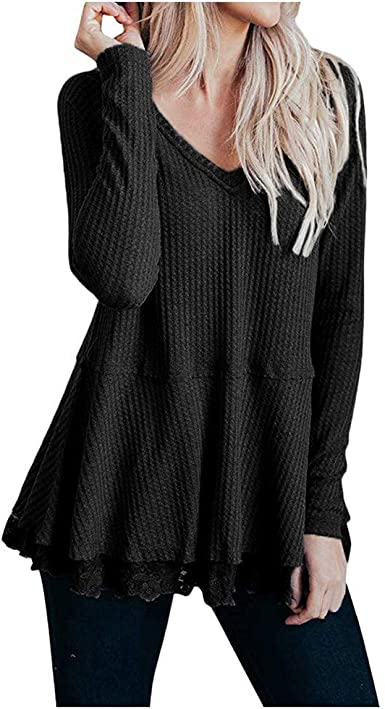 Womens Knit Pleated Pullover Casual Top Long Sleeve Sweater