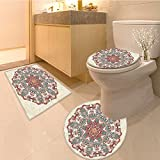 3 Piece Anti-slip mat set Collection Paste Symbo of Lotus with Square and Triangles Artsy Work Fabric Extra Lo Non Slip Bathroom Rugs