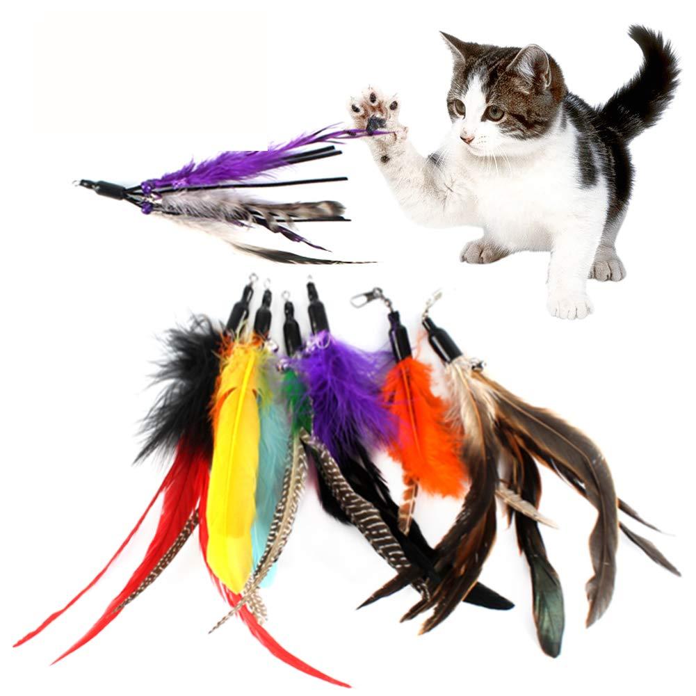 Gutian Cat Toys 7pezzi con piume di ricambio e morbido Furry Tail bacchette per per il gatto e gattino giocattolo interattivo