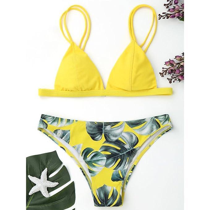 Sujetadores Mujer Tallas Grandes Lanskirt Bikini Mujer Sexy con Estampado Traje de BañO de Hojas Acolchado Push Up Ropa de Playa BañAdores de Estampado para ...