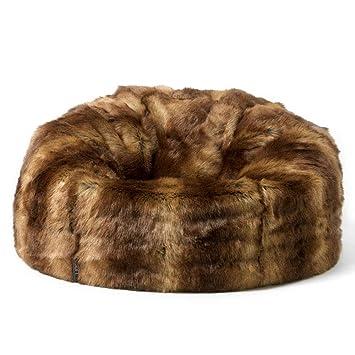 Icon Faux Fur Bean Bag Chair Brown Bear Extra Large 84cm X 70cm