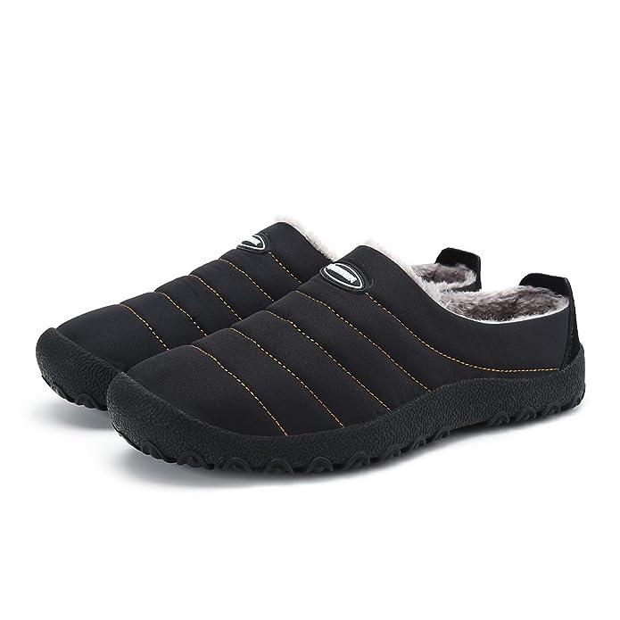 Men's Winter Warm Flat Slip-On Loafers Waterproof Snow Shoes Black 38