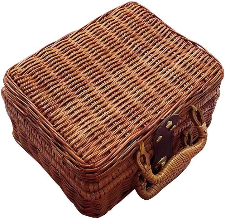 Maleta de mimbre retro, Maleta de viaje de mimbre marrón, Caja de almacenamiento de ratán, Cesta de picnic para exterior, Salida, Cestas de almacenamiento para acampar