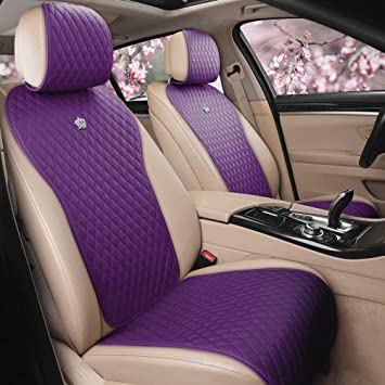 Purple Black Seat Covers Full Set For Auto w// Steering Cover Belt Pads and More