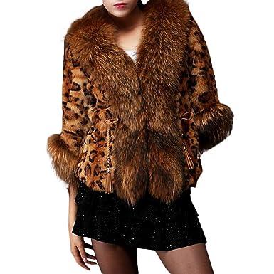 Cywulin Women s Leopard Print Cardigan Sweaters Blazer Jackets Fluffy Faux  Fur Winter Coat Soft Furry Parka edde8b423