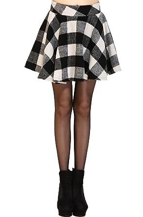 Beautifulmall Women's Winter Wool Plaid Tartan Flared Pleated ...