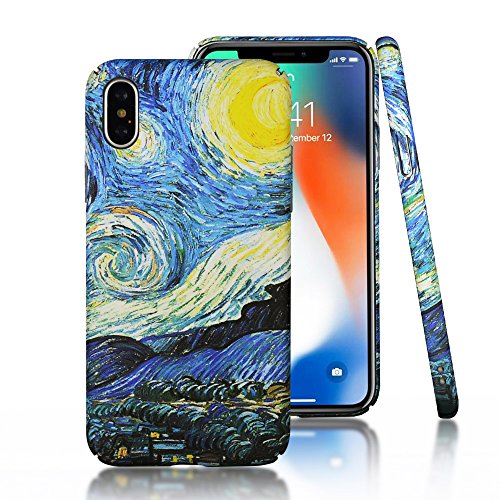 - CLOUDS iPhone X Case [Famous Paiting Series] Smooth Premium Durable Hard PC Funny Cool 3D Flowing oil painting case with a free screen protector-The Starry Night Van Gogh