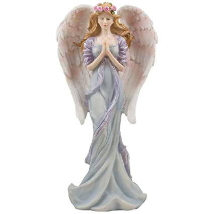 amazon com standing praying angel statue with accents of roses for