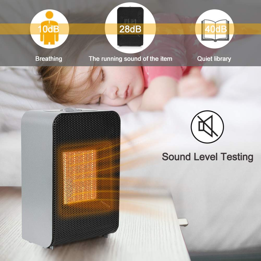 MOPHOTO Space Heaters Desk Heater for Office Home Portable Oscillating Heater w Adjustable Thermostat, Small Ceramic Heater Auto Shut-Off Overheat Protection Super Quiet, 750W 1500W