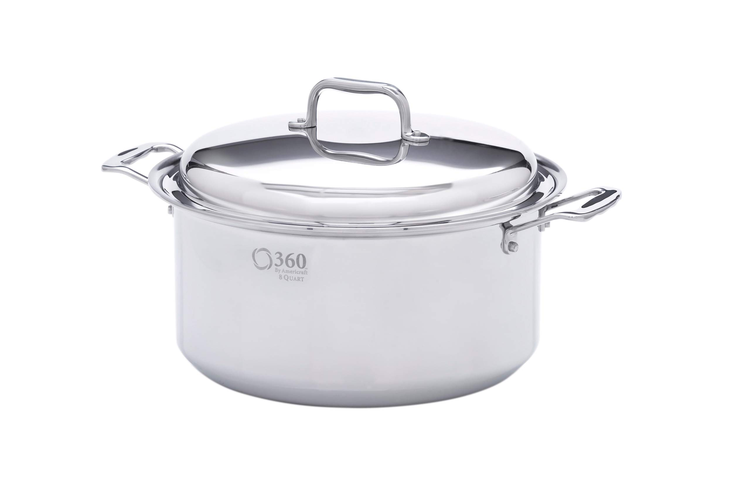 360 Cookware Stainless Steel Cookware, American Made, 8 Quart Pot with Cover for Gas, Electric, Induction Stoves. Waterless Cookware Cooking Capable, Lasts a Lifetime, Professional Grade