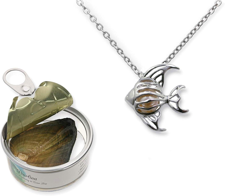Pearlina Collar de Peces Deseos cultivados Conjunto de ostras Perlas Jaula chapada en Tono Plateado con Cadena de Acero Inoxidable para niñas 18