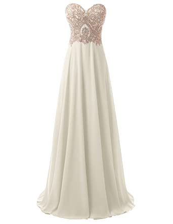 Sarahbridal Womens Lace Applique Bridesmaid Dresses Long Sweetheart Wedding Party Prom Gowns Ivory US2
