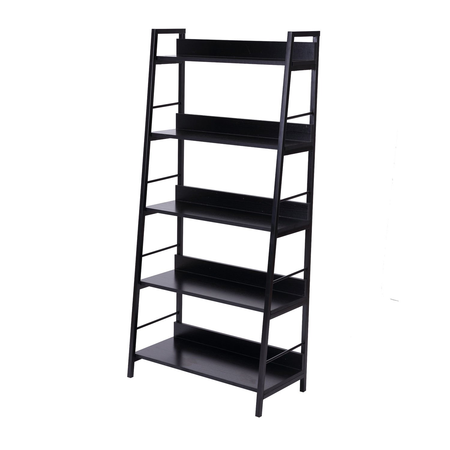 Wood Bookcase 5-Tier Wide Book Display Shelves Storage Home Furniture Black Eight24hours