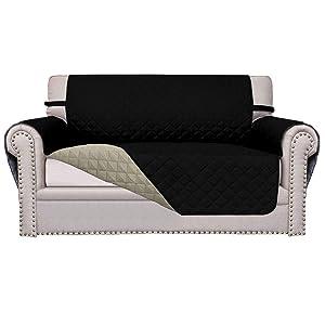 Easy-Going Sofa Slipcover Reversible Sofa Cover Furniture Protector Anti-Slip Foams Couch Cover Water Resistant Elastic Straps PetsKidsChildrenDogCat(Loveseat,Black/Beige)