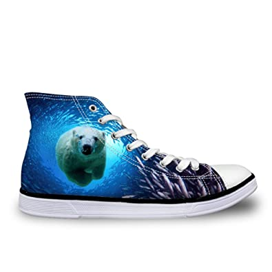 84b13a9600df0 FOR U DESIGNS Fashion Unisex Animal Print High Top Lace Up Shoes Casual  Canvas Sneakers for Women and Men