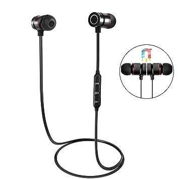 Auriculares Bluetooth, HENGKEXIN Magnéticos Casco Bluetooth 4.1 Auriculares Deportivos Inalámbricos con Mic, estéreo, para iPad, iOS y Android-Black: ...