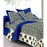 UniqChoice 100% Cotton Traditional Double Bedsheet with 2 Pillow Cover