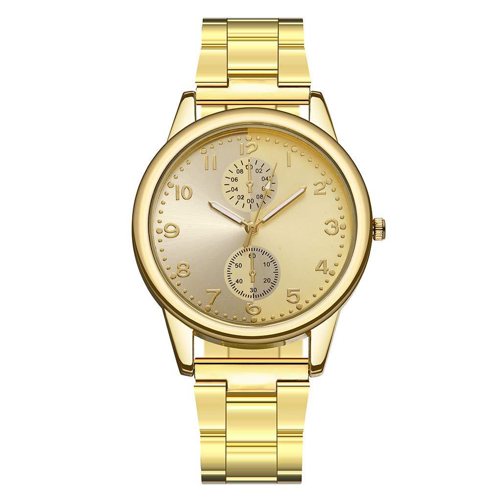 Women's Watches Luxury Elegant Ladies Stainless Steel Wrist Watch Female Clock Analog Quartz Round WristWatches (C)