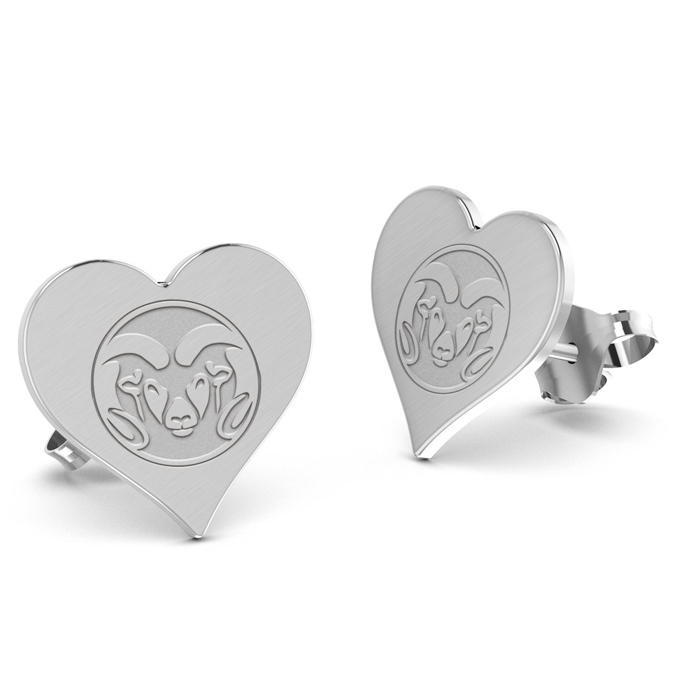 Colorado State Rams Heart Stud Earring See Image on Model for Size Reference