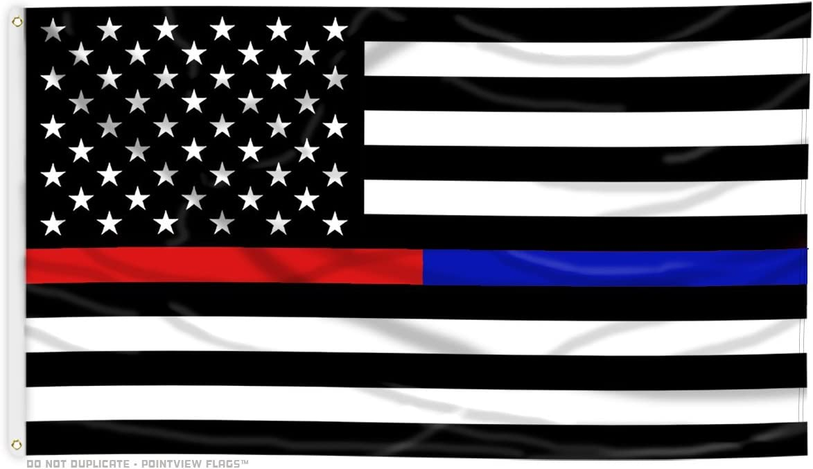 Amazon Com Thin Blue Line And Thin Red Line Dual American Flag