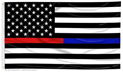 d48e4e3ae76e Image Unavailable. Image not available for. Color  Thin Blue Line and Thin  Red Line Dual American Flag ...