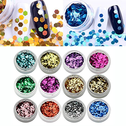Yeefant 12 Pcs Colors Shiny Metallic Nail Art Tips Stickers