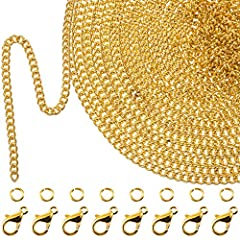 33 Feet chain necklaces: The chain necklace is approx. 10 m/ 33 feet in length, enough length to make different jewelry chain necklaces and meet your various needs. DIY unique crafts: The package also includes lobster clasps and jump rings, w...