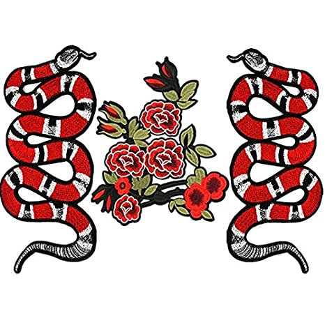 Buy Generic Embroidery Rose Flower Snake Patches For Clothing Iron Sewing Flower Snake Online At Low Prices In India Amazon In