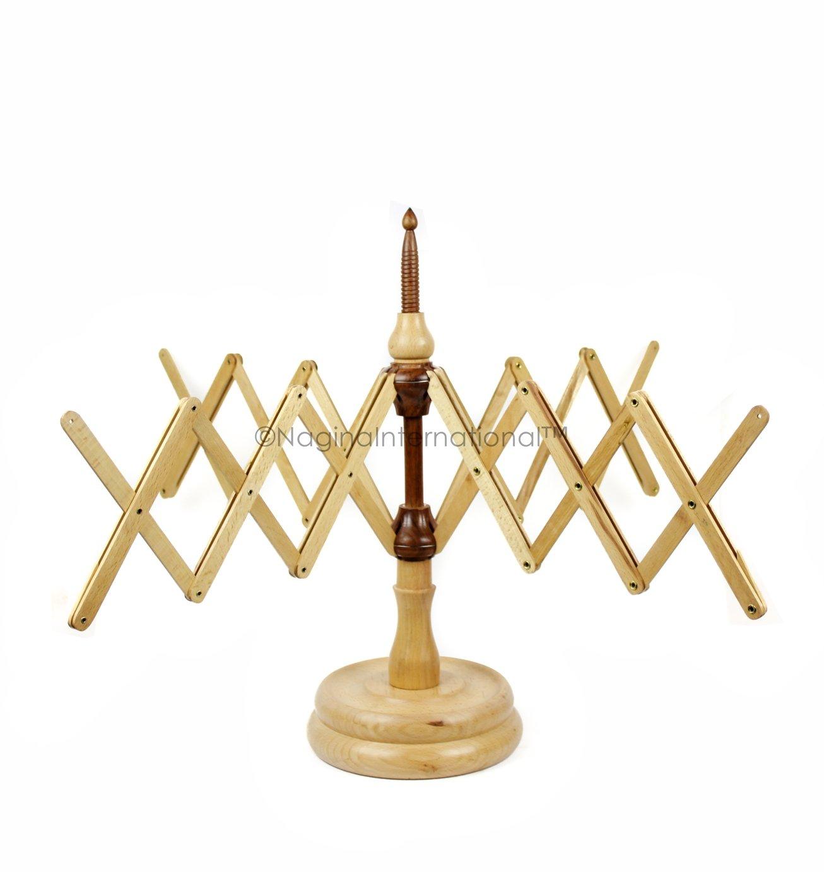 Nagina International's Yarn Swift Umbrella Table Top Yarn Winder | Hand Operated Ball Winder Holder | Knitting Tool for Swift Winding Lines, Laces Yarns & Fiber (Beech, Large) by Nagina International