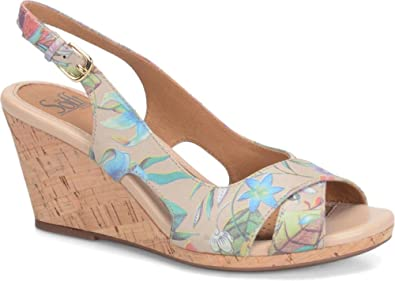 Sofft Womens Cailean Leather Open Toe Casual Platform Sandals Taupe Size 90