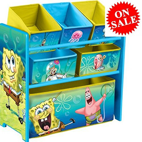 (EFD Wooden Toy Organizer with Fabric Bins for Kids Toddlers and Children Toy Organizer Storage Box with SpongeBob SquarePants Design Stuffed Toy Organizer eBook by Easy&FunDeals)