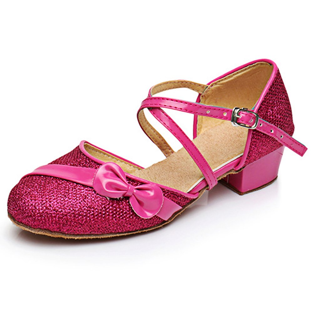 df238cb22bdd Amazon.com  YING LAN Children Girl s Round-Toe Sparkly Glitter Side Bowknot  Strap Modern Latin Ballroom Dance Closed-toe Shoe  Clothing