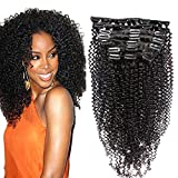 Sunwell Brazilian Virgin Human Hair Clip in Extensions for Black Women Kinky Curly Full Set with Clips Natural Color, 7 Pcs/Lot, 22
