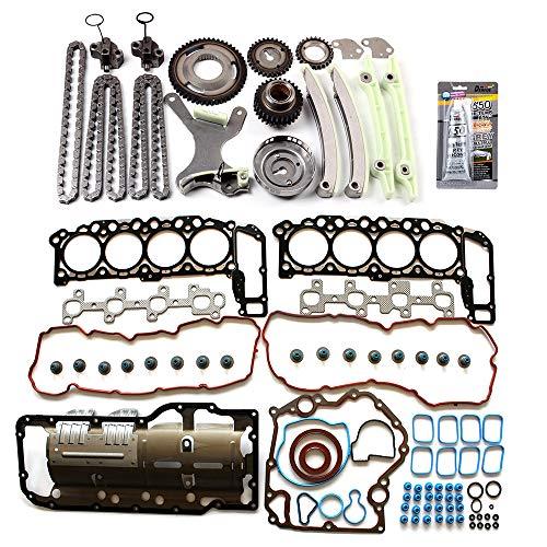 cciyu Engine Timing Chain Kit(TKMI047L) Head Gasket Set(HS26157PT-1) for 04-07 1500 Mitsubishi Raider Jeep Commander Dodge Dakota Dodge Ram4.7L