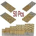 Mohoo 50PCS 1/1.5/2/2.5/3mm HSS Shank High Speed Steel Drill Bit Set Tools Titanium For Wood Plastic and Aluminum Copper Steel by MOHOO Co.,LTD