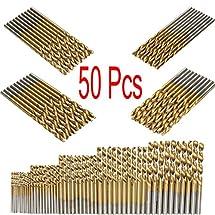 Mohoo 50PCS 1/1.5/2/2.5/3mm HSS Shank High Speed Steel Drill Bit Set Tools Titanium For Wood Plastic and Aluminum Copper Steel