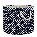 DII Collapsible Polyester Storage Basket Or Bin with Durable Cotton Handles, Home Organizer Solution for Office, Bedroom Closet, Toys, and Laundry, Medium Round-12x15, Stained Glass Navy
