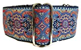 "Regal Hound Designs 2"" wide Martingale Dog Collar, Lined, 2 Sizes: Medium, Large/XL, Blue Peacock Design (Large/XL 17 - 26"")"