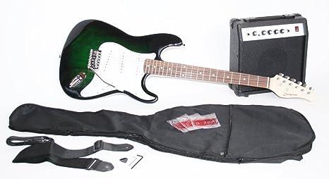Cher rystone Guitarra eléctrica Set con Amplificador y accesorios dark green Burst