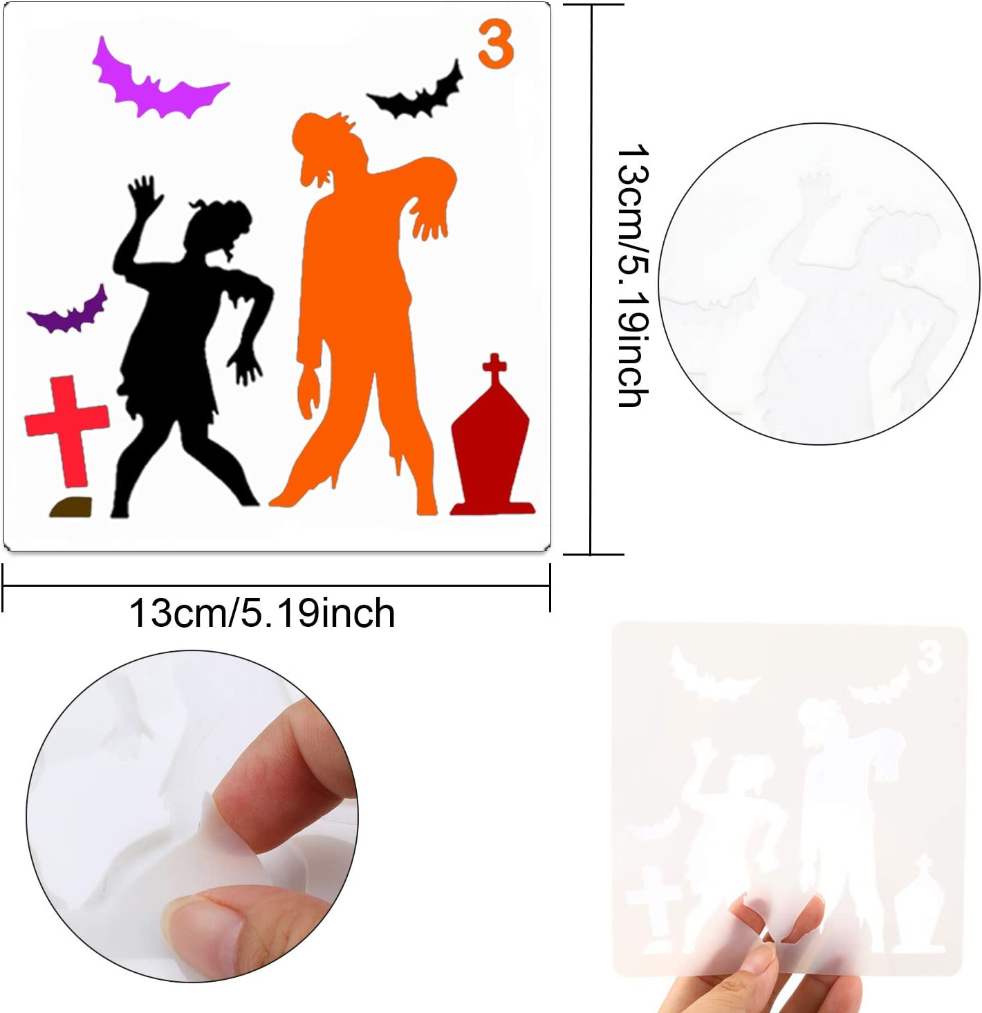 Painting Stencil for Adults Man Women Konsait Halloween Pumpkins Temporary Tattoos Stencils