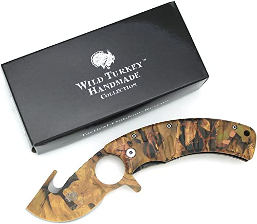 Wild Turkey Hunter's Choice Gut Hook Action Assisted Folding Knife Outdoors Camping Fishing Hunting