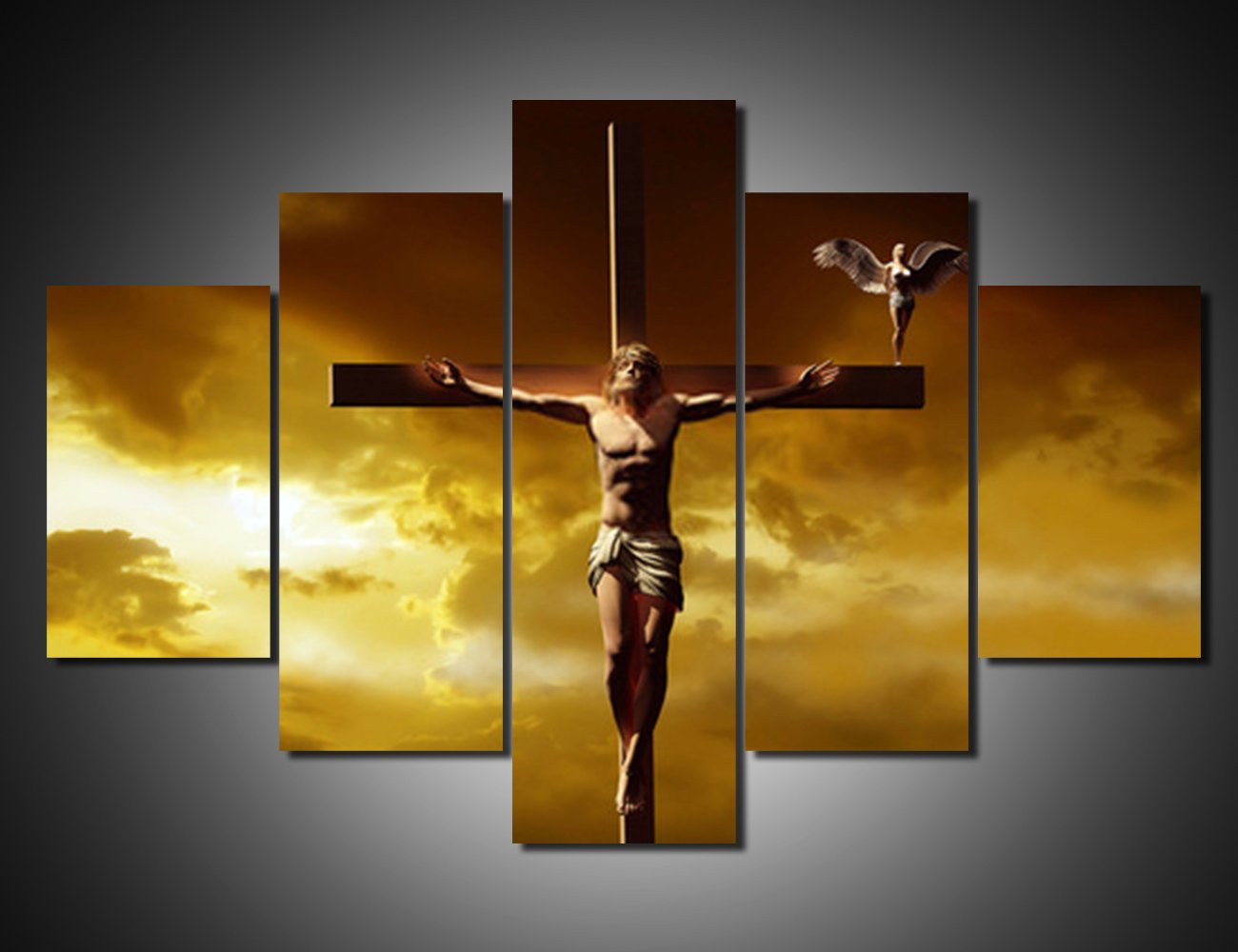 Amazon.com: Extra Large 5 Piece Canvas Wall Art Jesus Crucifixion ...