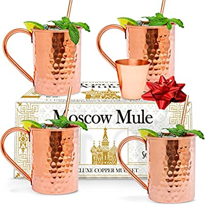 Benicci Moscow Mule Copper Mugs - Set of 4 - 100% HANDCRAFTED - Pure Solid Unlined Copper Mugs 16 oz Gift Set with BONUS: Highest Quality Copper Shot Glass and Cocktail Copper Straws