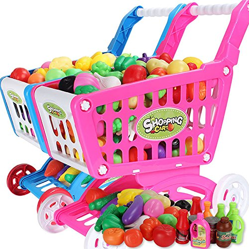 MAZIMARK-Baby Kids Supermarket Children Pretend Role Play Cash Shopping Cart Trolley Toy by MAZIMARK