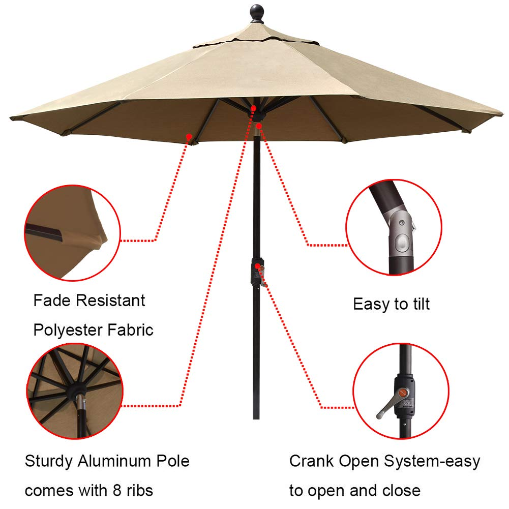 EliteShade Sunbrella 9Ft Market Umbrella Patio Outdoor Table Umbrella with Ventilation (Sunbrella Heather Beige) by EliteShade (Image #5)