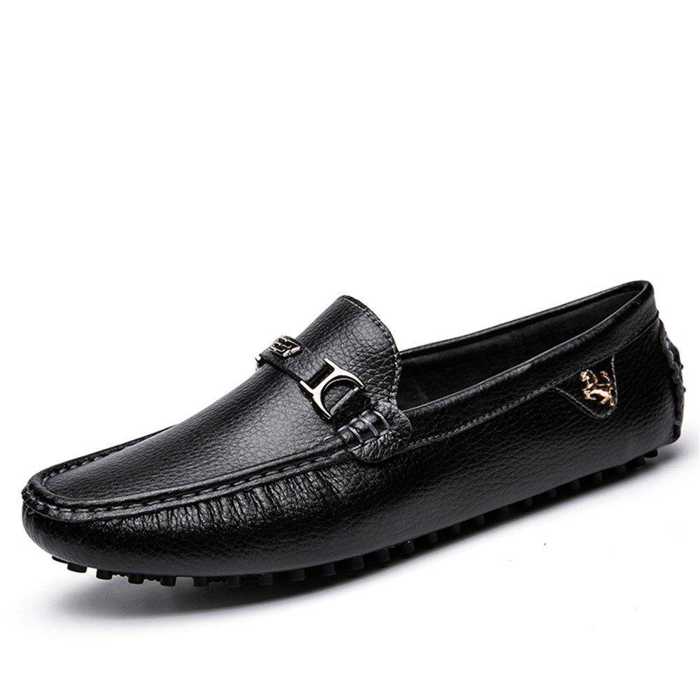 Moda Mocasines Hombre Piel de Microfibra Antideslizantes Trabajo Zapatos Náuticos 42 EU|Negro